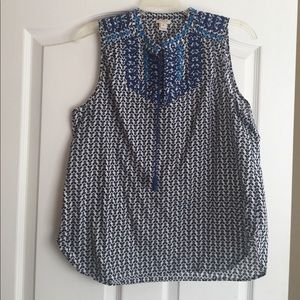 J.CREW sleeveless blue/black top with embroidery