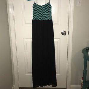 Black and aqua chevron maxi dress
