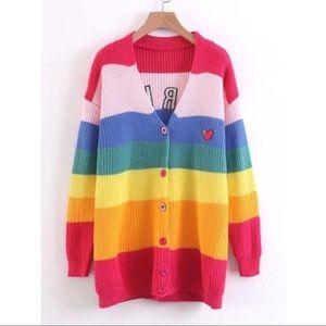 Sweaters - Boring Heart Rainbow Stripe Cardigan
