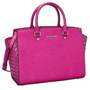 Michael Kors Hot Pink Grommet Handbag