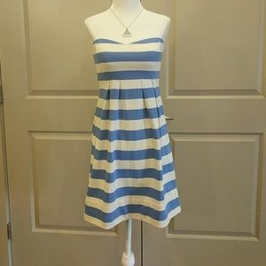 💋 Strapless blue and white striped dress b J Crew