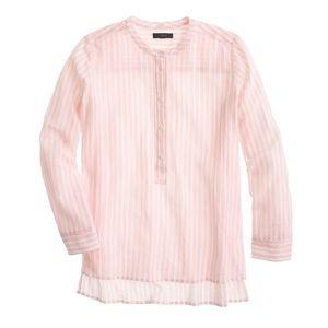 {j. crew} collarless popover shirt - bengal stripe