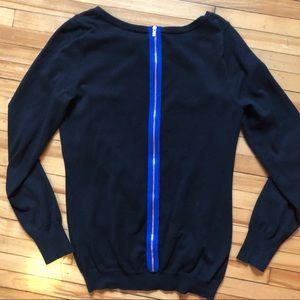 Banana Republic Black-Blue Zip Back Sweater