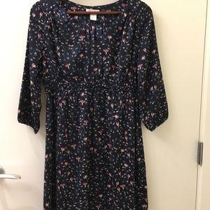 MATERNITY - dark navy flower print dress