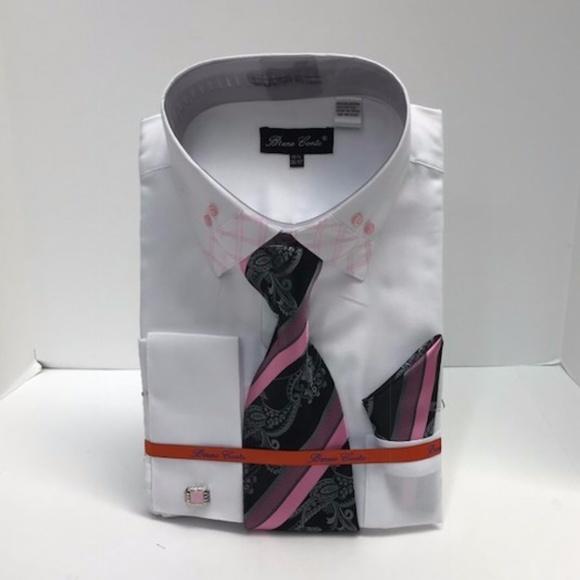 a29369b220 Bruno Conte Shirts | Mens Dress Shirt White Pink Combo | Poshmark