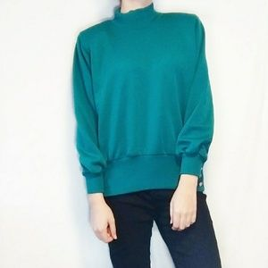 VTG Vintage 80s Mock High Neck Retro Teal Sweater