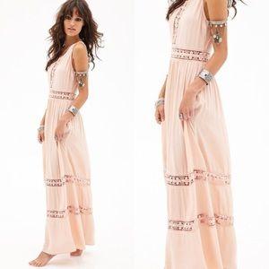 Pink Crochet Lace Goddess Maxi Dress S