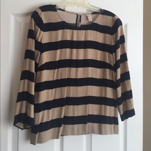 J.CREW navy and tan striped blouse