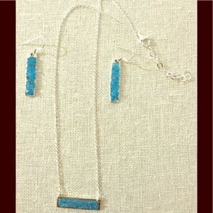 Blue agate Sterling silver earrings /necklace FIRM