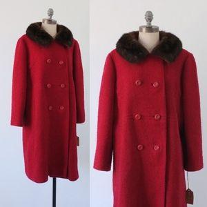 vintage 1960s coat   vintage fur collar red coat