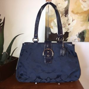 Coach F19253 Soho Navy Blue Signature Carryall bag