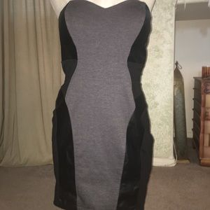 Black and Grey with pleather patterns Fitted Dress