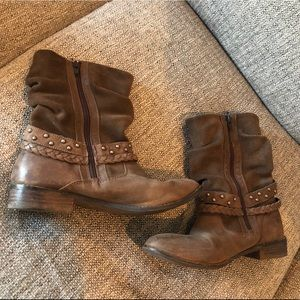 Boots Booties Brown Zipper