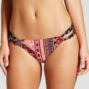 Xhilaration loop strap bikini bottom, pink & black