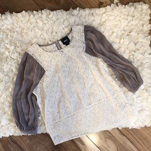 Maeve Anthropologie Lace Baseball Style Top