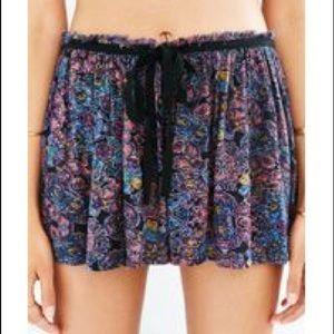 Boho Purple Floral Rayon Shorts