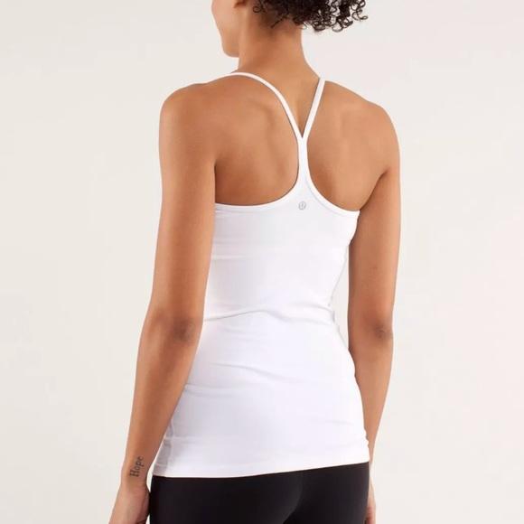 9d162929fed85 lululemon athletica Tops - Lululemon Power Y tank white size 10 top w bra
