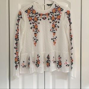 Brand new dotted floral cross-stitch top