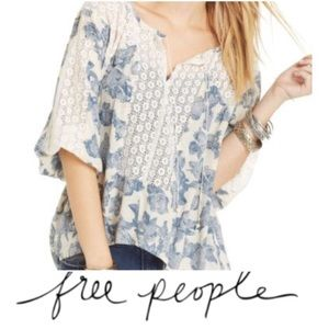 Free People Blue Rose Oversized Peasant Top