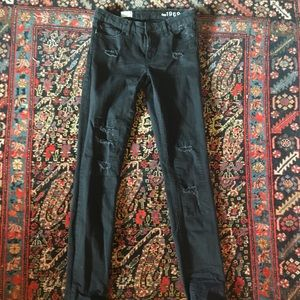 Distressed Black Jeans Gap 27 extra long