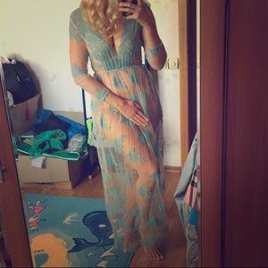 Blue Damask Sheer Coverup Dress