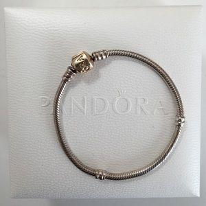 Pandora two tone silver bracelet w/ 14k gold clasp