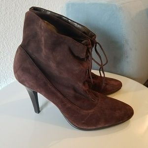 Brown suede Calvin Klein ankle boots booties 9.5