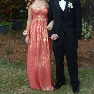 Pink and gold prom dress size 0