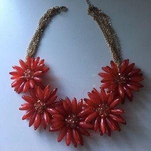Red Flower Statement Necklace
