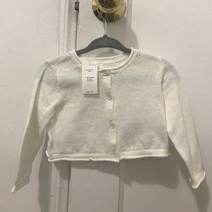 NWT BabyGap White Cotton Shrug—6-12 months