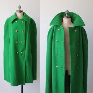 vintage green wool cape   vintage 70s long cape