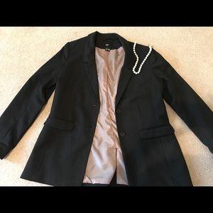 H&M Fitted Black Blazer Sz 12