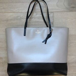 Kate spade tan and black leather tote