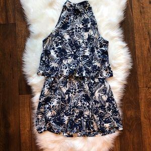 Paper Crane Blue Floral Tiered Dress