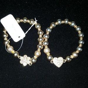Gold tone stackable bracelets