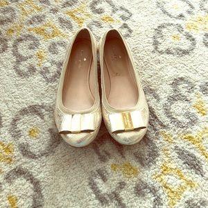 Kate Spade Gold Bow Flats