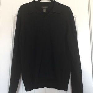 Black Stretch Sweater with Collar