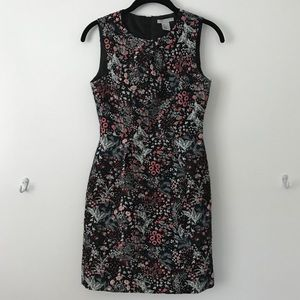 Black and floral mid-length dress