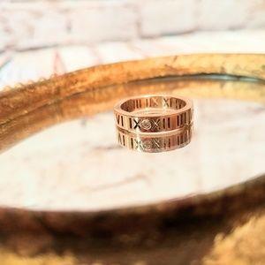 Unique Roman Numerals Numerology Rose Gold Ring 7