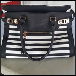ALDO - Black and white striped bag.