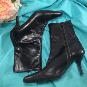 COACH Black Leather Jeanne Boots