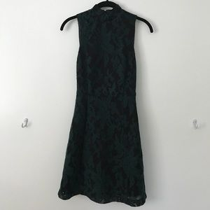 Black and green mid-length dress