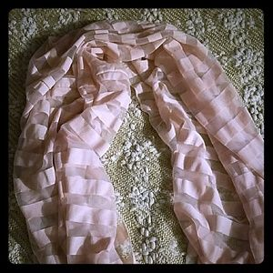 Oversized pink and sheer infinity scarf