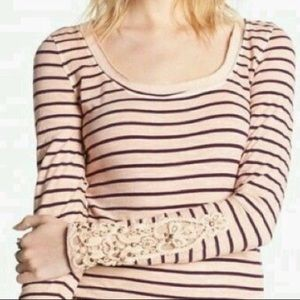 Free People Hard Candy Crochet Cuff Striped Henley