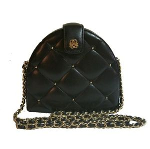 VINTAGE woven chain wood covered in leather bag