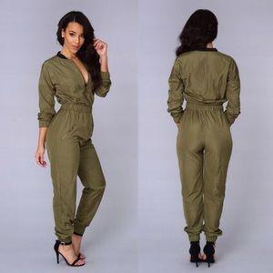 Pants - Olive Jumpsuit - Size Medium