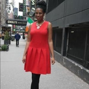 H&M Red Quilted Skater Dress NWOT