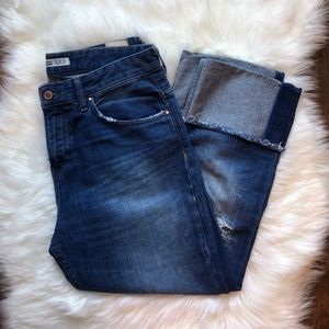 Zara Trendy Cropped Distressed Capris