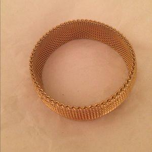 Mesh gold tone basket weave bracelet