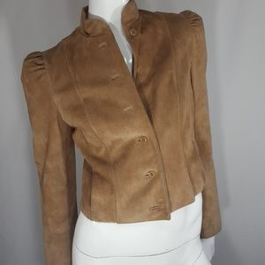 Vintage 80s tan leather suede jacket Small